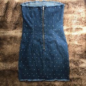 Jean mini dress with rhinestones by Jaded London